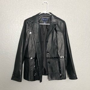 Stylish Leather Coat By Susan Graver